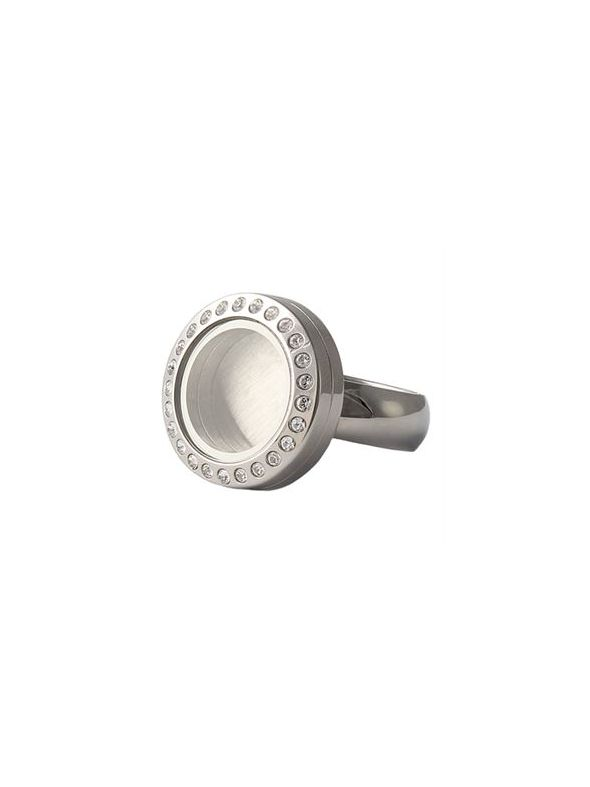 Silver with Crystals Mini Locket Ring - Size 7