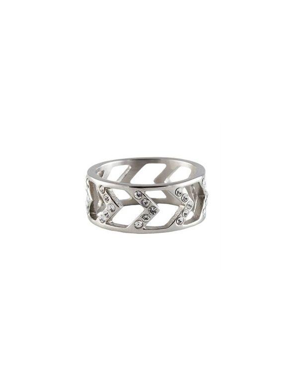 Silver Chevron Ring - Size 9